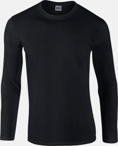Svart (herr) Billiga, långärmade t-shirts med reklamtryck