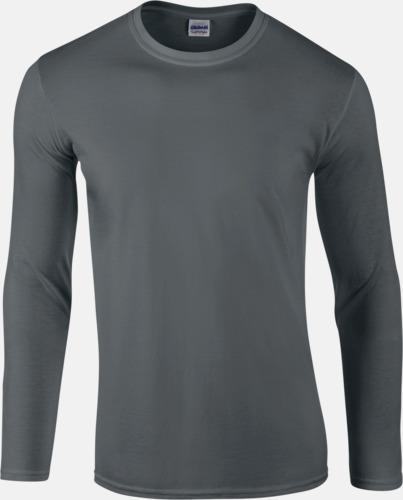 Charcoal solid (herr) Billiga, långärmade t-shirts med reklamtryck