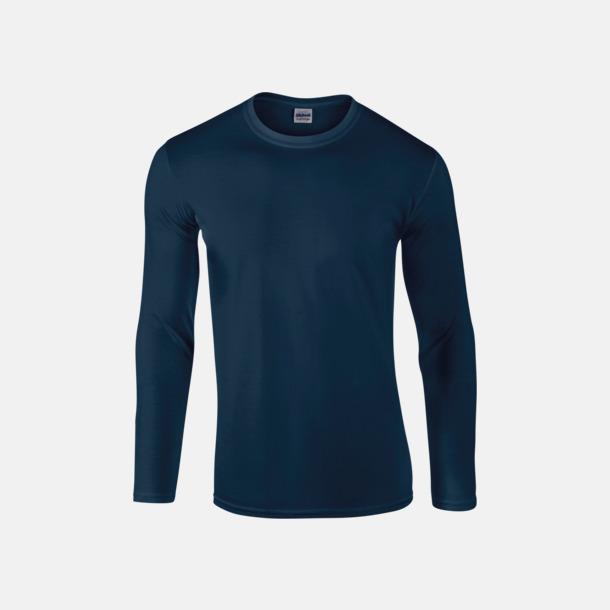 Marinblå (herr) Billiga, långärmade t-shirts med reklamtryck