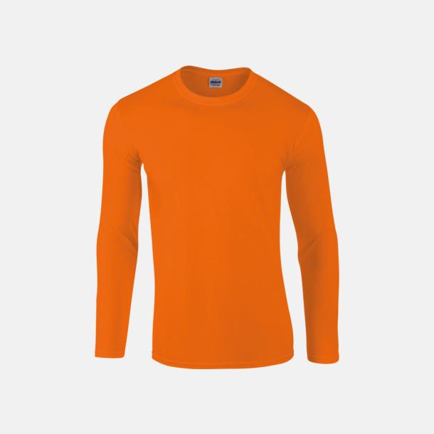 Orange (herr) Billiga, långärmade t-shirts med reklamtryck