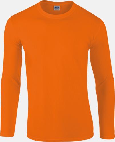 Orange (endast herr) Billiga, långärmade t-shirts med reklamtryck