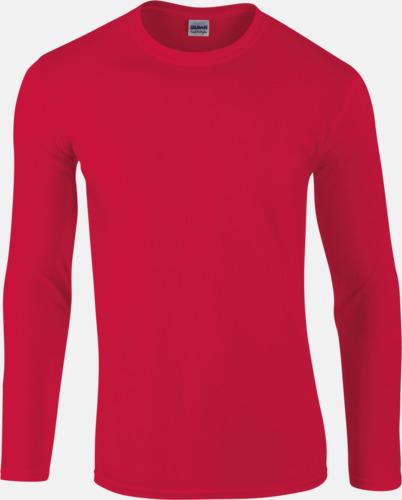 Röd (herr) Billiga, långärmade t-shirts med reklamtryck