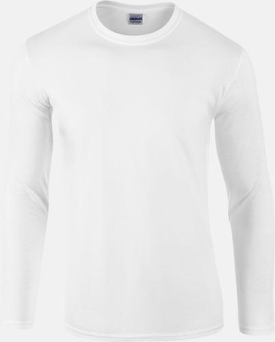 Vit (herr) Billiga, långärmade t-shirts med reklamtryck