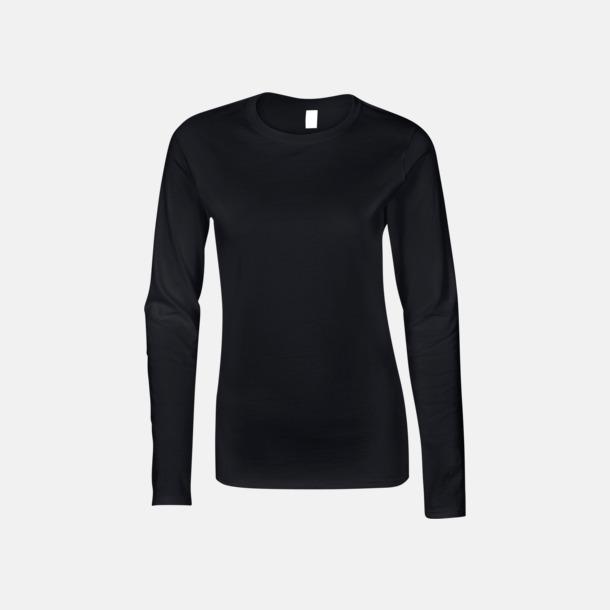 Svart (dam) Billiga, långärmade t-shirts med reklamtryck