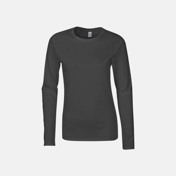 Charcoal solid (dam) Billiga, långärmade t-shirts med reklamtryck