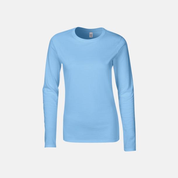 Ljusblå (dam) Billiga, långärmade t-shirts med reklamtryck