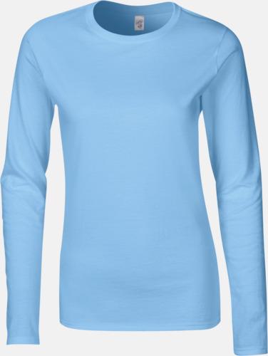 Ljusblå (endast dam) Billiga, långärmade t-shirts med reklamtryck