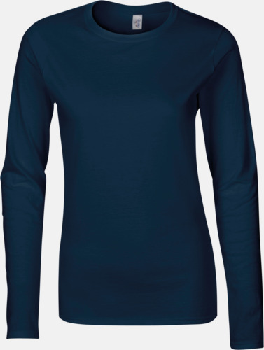Marinblå (dam) Billiga, långärmade t-shirts med reklamtryck