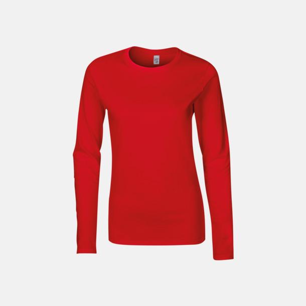 Röd (dam) Billiga, långärmade t-shirts med reklamtryck