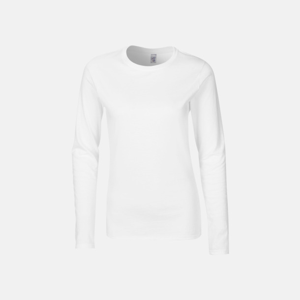 Vit (dam) Billiga, långärmade t-shirts med reklamtryck