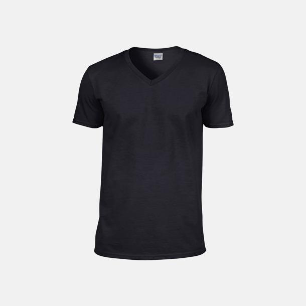 Svart (herr) Billiga v-ringade t-shirts med reklamtryck