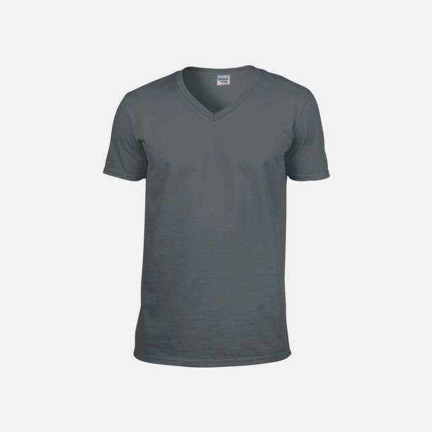 Charcoal solid (herr) Billiga v-ringade t-shirts med reklamtryck