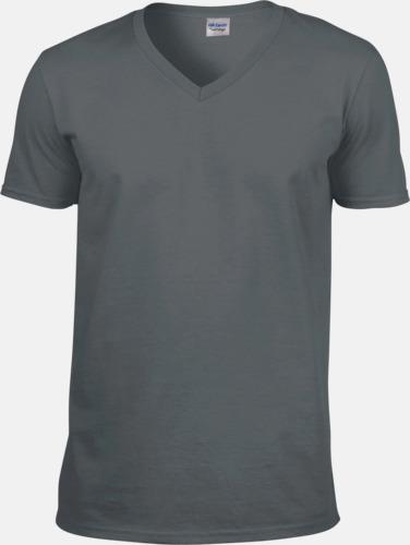 Charcoal solid (endast herr) Billiga v-ringade t-shirts med reklamtryck