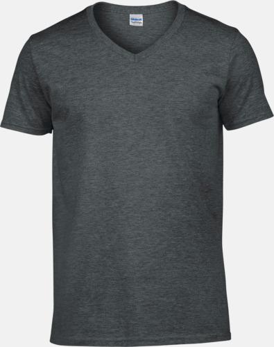 Dark Heather (herr) Billiga v-ringade t-shirts med reklamtryck