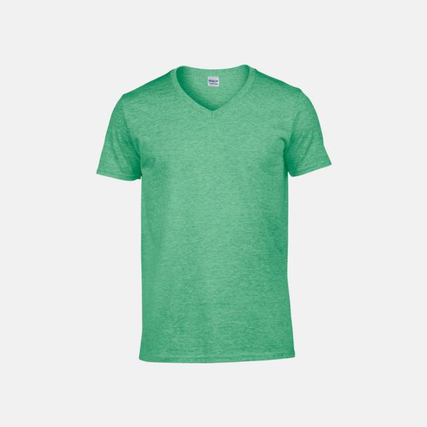 Heather Irish Green (herr) Billiga v-ringade t-shirts med reklamtryck