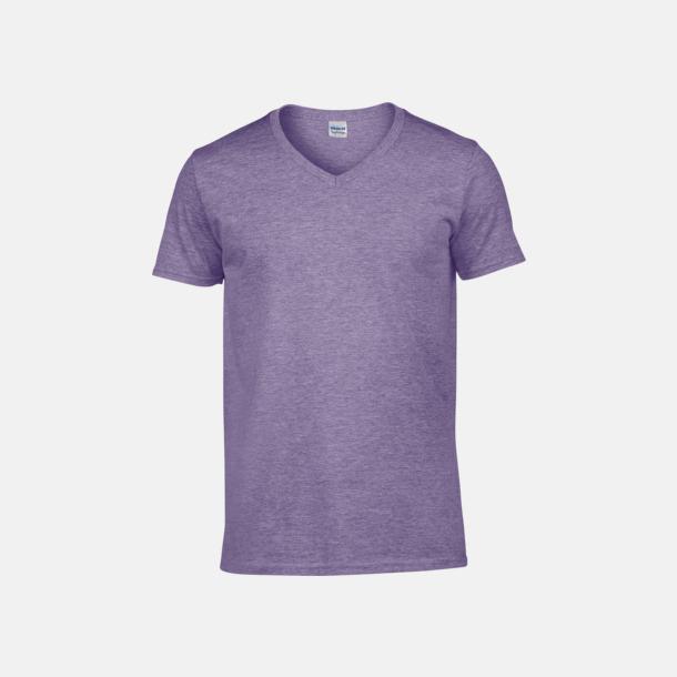 Heather Purple (herr) Billiga v-ringade t-shirts med reklamtryck