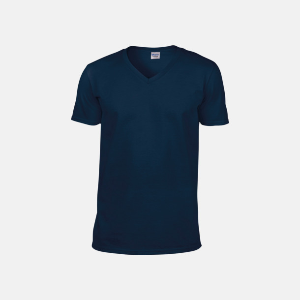 Marinblå (herr) Billiga v-ringade t-shirts med reklamtryck