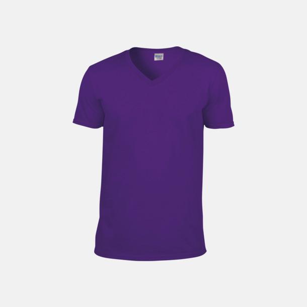 Lila (herr) Billiga v-ringade t-shirts med reklamtryck
