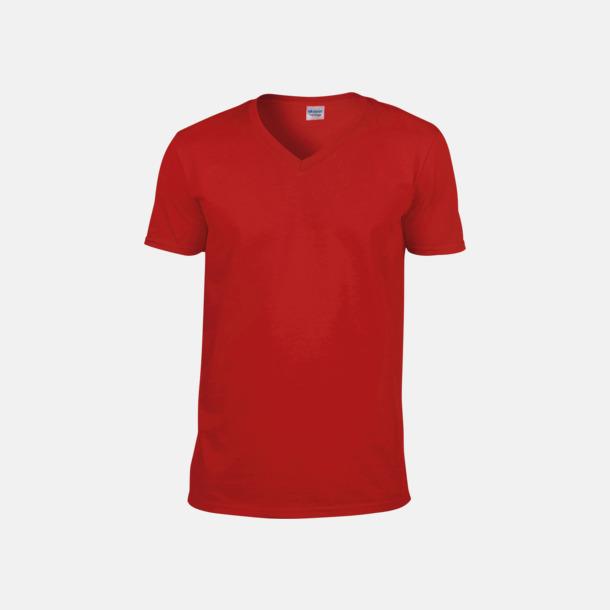 Röd (herr) Billiga v-ringade t-shirts med reklamtryck