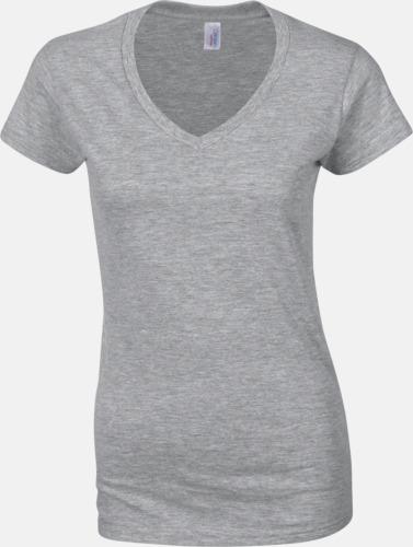 Sport Grey heather (dam) Billiga v-ringade t-shirts med reklamtryck