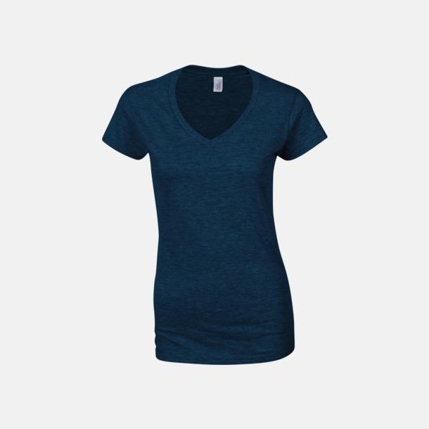 Marinblå (dam) Billiga v-ringade t-shirts med reklamtryck
