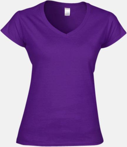 Lila (dam) Billiga v-ringade t-shirts med reklamtryck