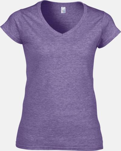Heather Purple (dam) Billiga v-ringade t-shirts med reklamtryck