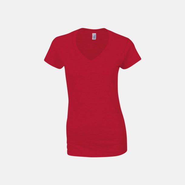 Röd (dam) Billiga v-ringade t-shirts med reklamtryck