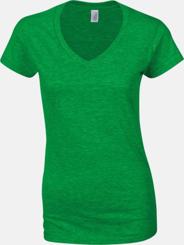 Irish Green (dam) Billiga v-ringade t-shirts med reklamtryck