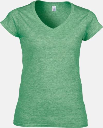 Heather Irish Green (dam) Billiga v-ringade t-shirts med reklamtryck