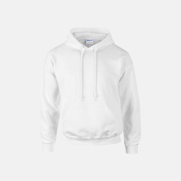 Vit Unisex hoodies från Gildan med reklamtryck