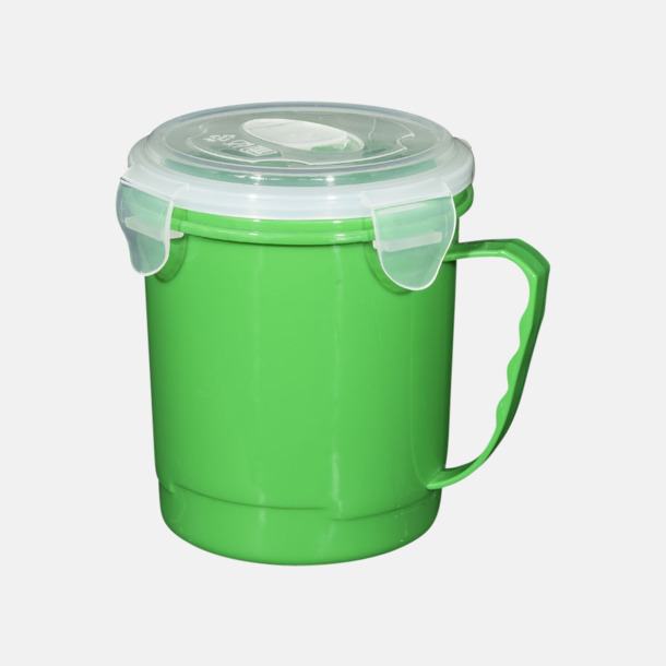 Grön Stora, koppformade matlådor med reklamtryck