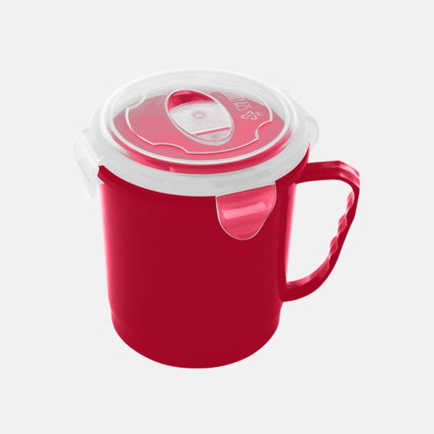 Röd Stora, koppformade matlådor med reklamtryck