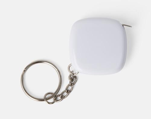 Vit Nyckelring med 1-meters måttband