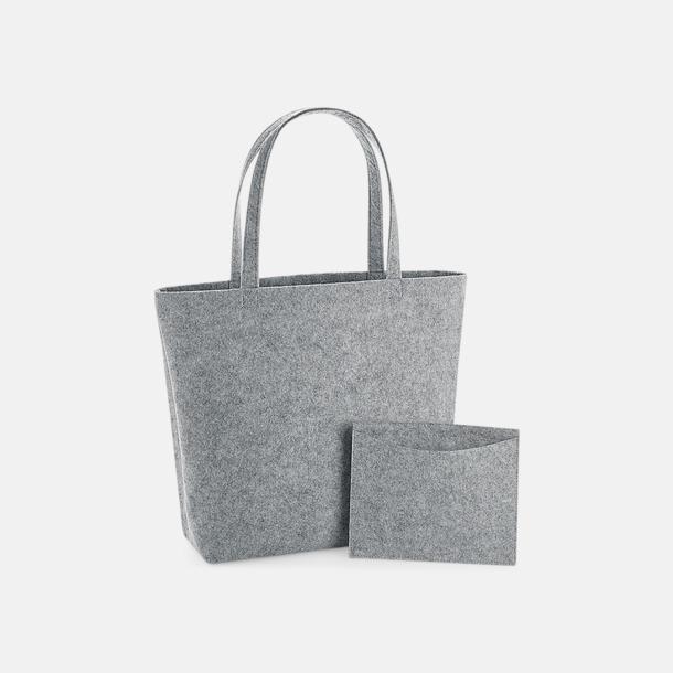 Grey Melange Stora shoppingkassar i filt med reklamlogo