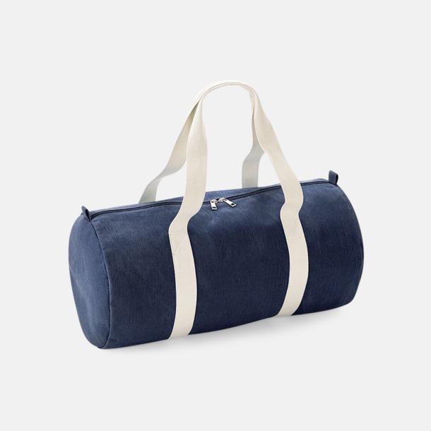 Denim Blue Sportväskor i jeanstyg med reklamtryck