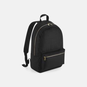 Svarta ryggsäckar med förgyllda metallblixtlås - med reklamtryck