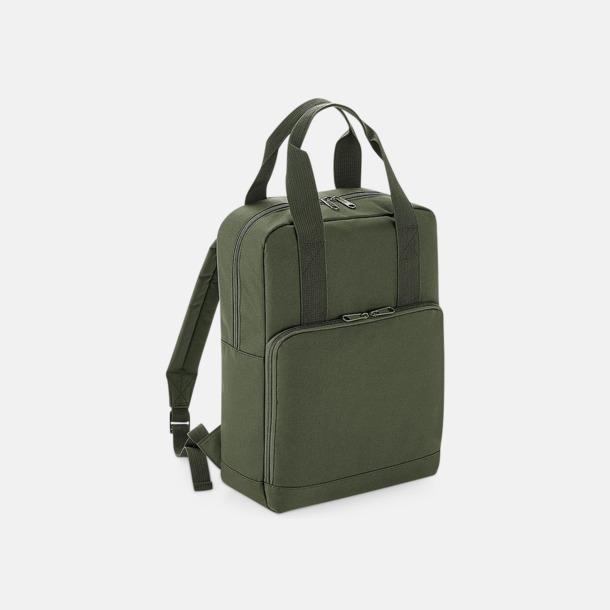 Olivgrön Trendig ryggsäck med dubbla bärhandtag - med reklamtryck