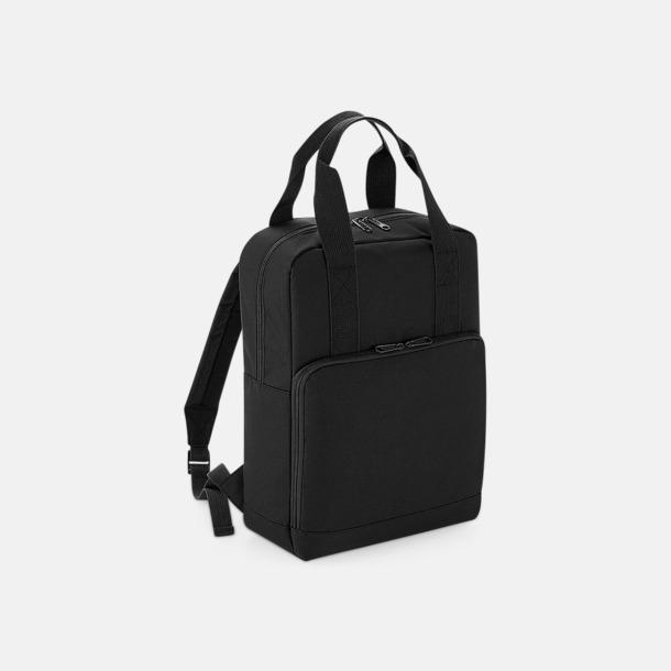 Svart Trendig ryggsäck med dubbla bärhandtag - med reklamtryck