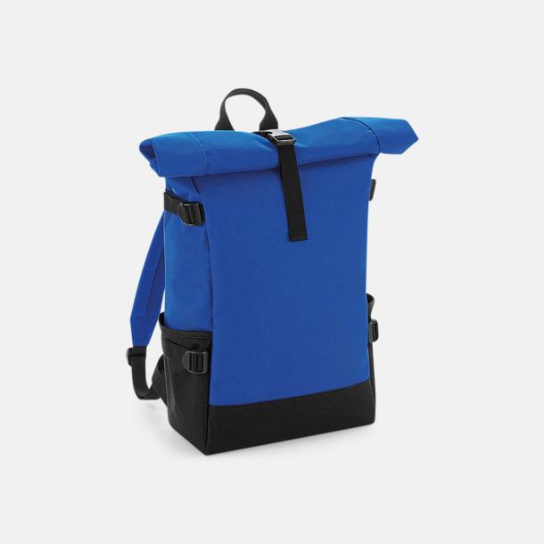 Bright Royal/Svart Flerfärgade roll-top väskor med reklamtryck