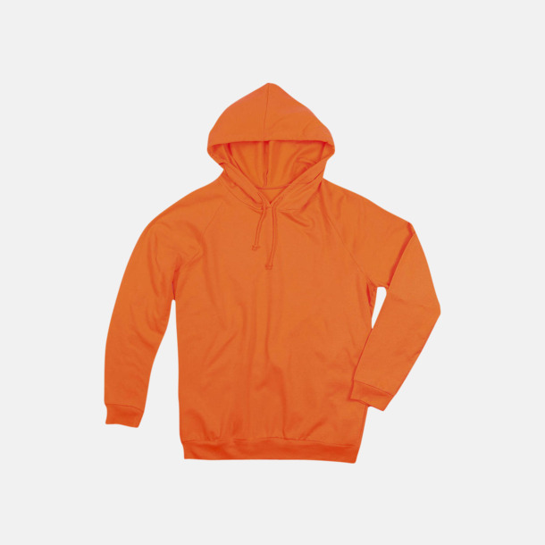 Orange Unisex hooded sweatshirts i 100 % bomull med reklamtryck