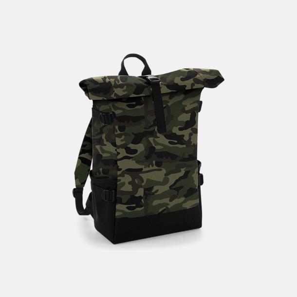 Jungle Camo/Svart Flerfärgade roll-top väskor med reklamtryck