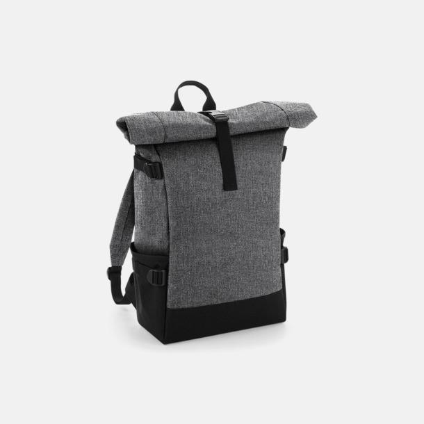 Grey Marl/Svart Flerfärgade roll-top väskor med reklamtryck