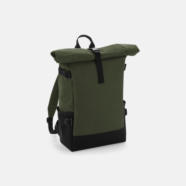 Olivgrön/Svart Flerfärgade roll-top väskor med reklamtryck