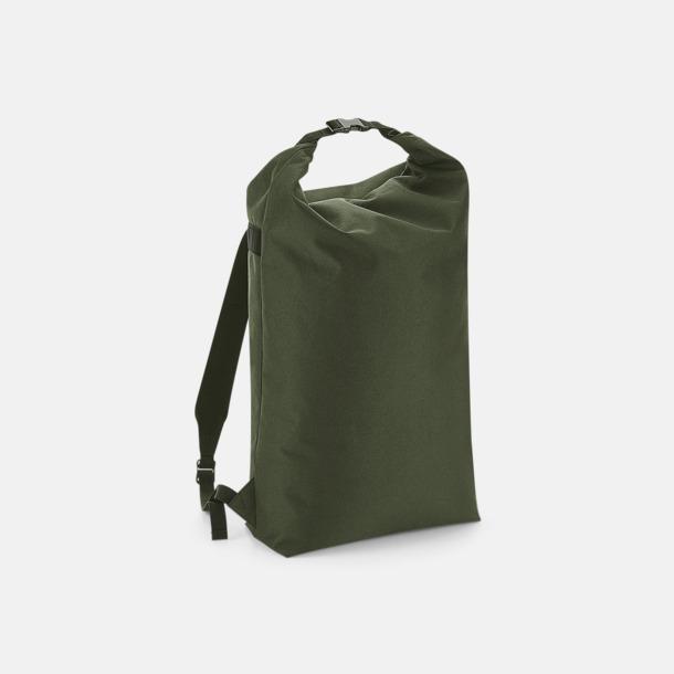 Olivgrön Vattenavvisande roll-top ryggsäckar med reklamtryck