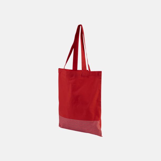 Röd Tygpåsar med silverränder nertill - med reklamtryck