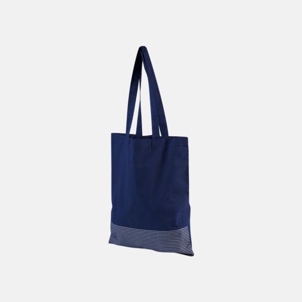 Marinblå Tygpåsar med silverränder nertill - med reklamtryck