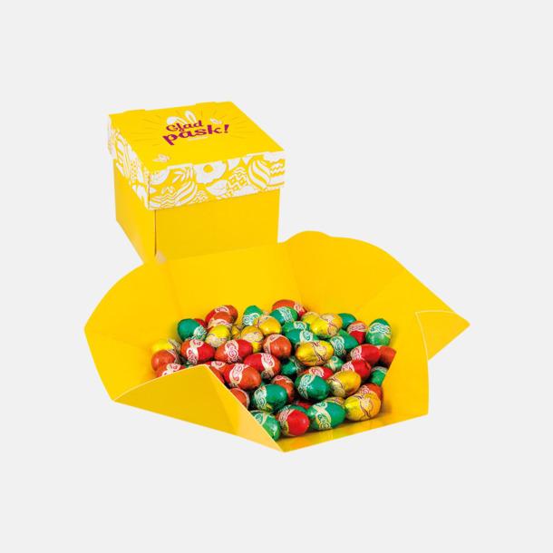 Chokladägg Påskgodis i praktiskt ask som kan fällas ut till skål med eget tryck
