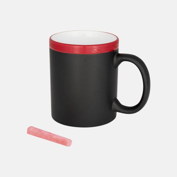 Svart / Röd Mugg som griffeltavla med reklamtryck