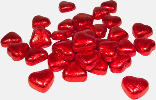 Röd Chokladhjärtan i cellofanpåse med etikett
